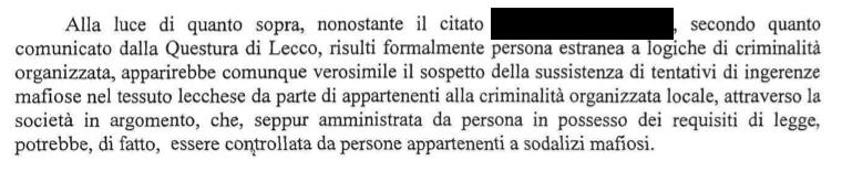 passaggio dell'informativa prefettizia dell'11 luglio 2011 al Comune di Lecco sull'impresa Delux Srl