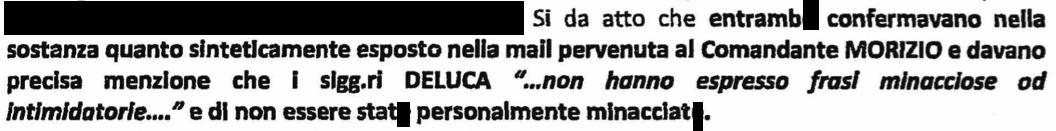 """Sit raccolte nell'ambito dell'informativa della Polizia locale sulle """"minacce"""" dei Deluca"""