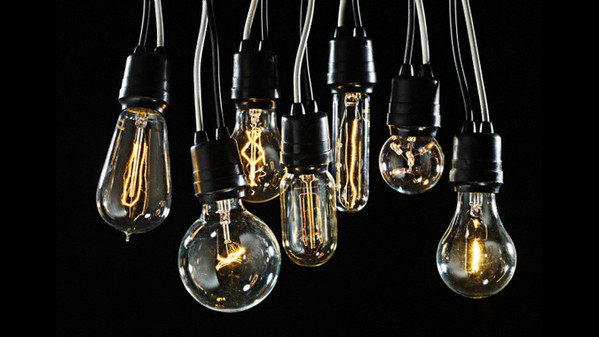 Group of Edison lightbulbs