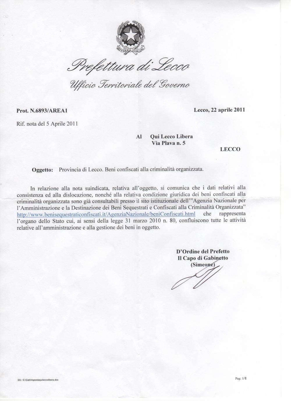 Prefettura: risposta elenco beni confiscati