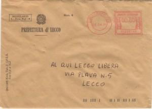 Prefettura: risposta elenco beni confiscati (busta)