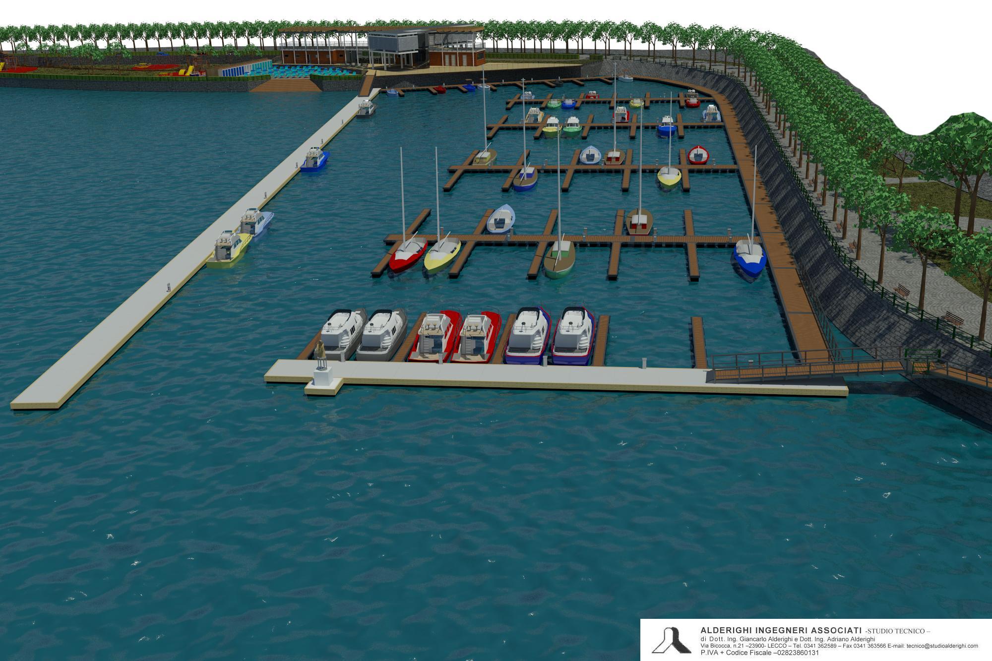 Gli elaborati grafici del porto alla Malpensata messi a punto dallo studio tecnico Alderighi.